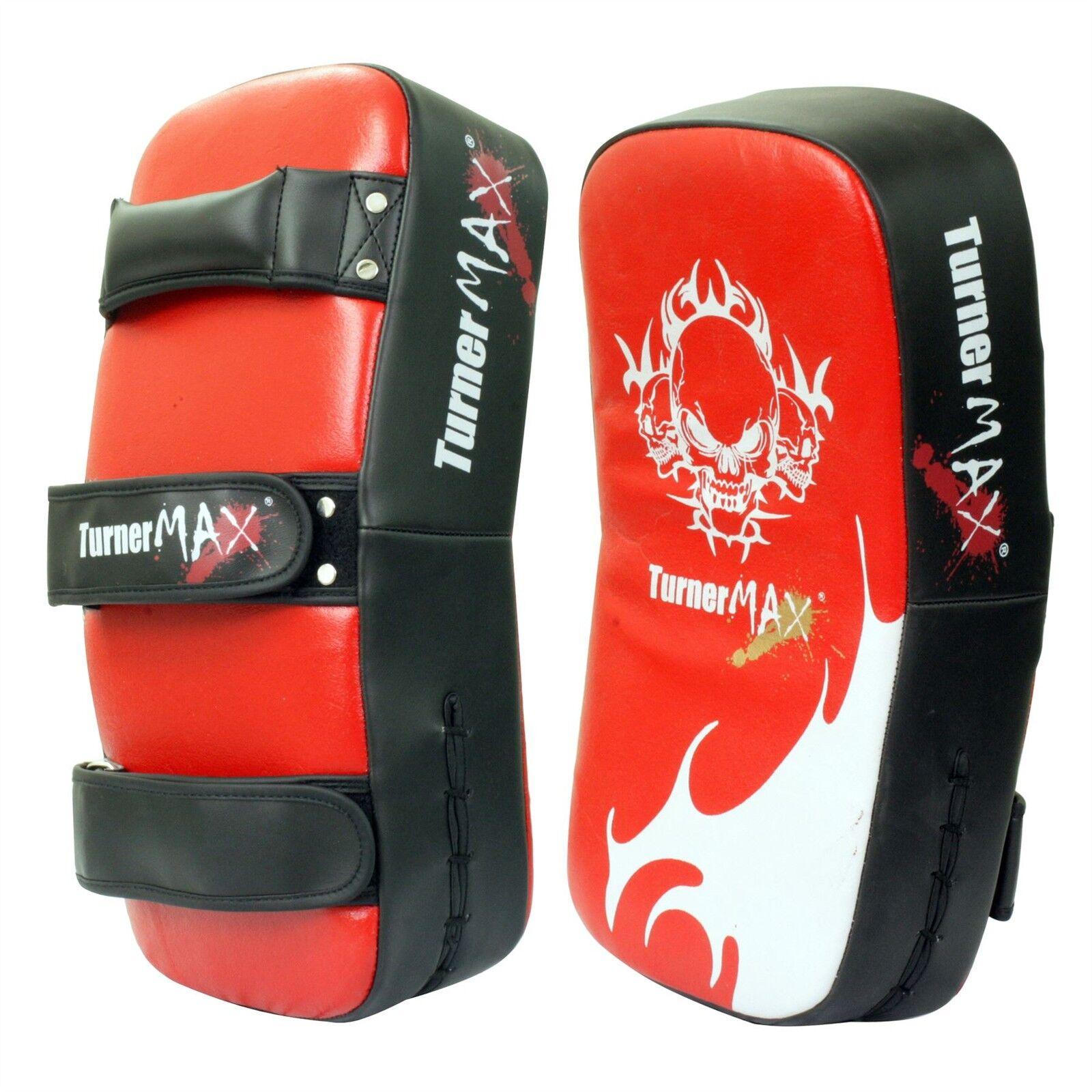 TurnerMAX CUOIO THAI PAD scatolaE STRIKE MMA ROSSO NERO COPPIA curvi