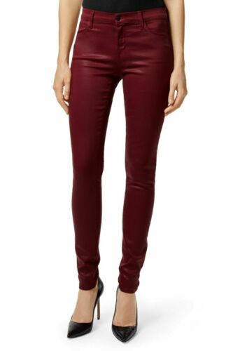 J BRAND Womens Mid Rise Jeans Super Skinny Coated Oxblood Red Size 30,31,32 $228
