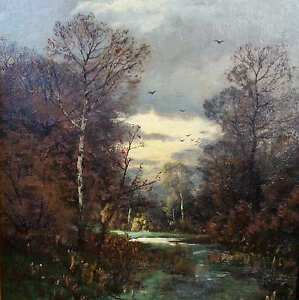 Gogarten-Heinrich-1850-1911-Muenchen-Landschaft-BARBIZON-ART-Duesseldorf-am-Abend