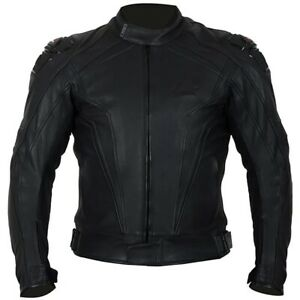 Weise Diablo Leather Sports Motorcycle Motorbike Jacket - Black - Size 48