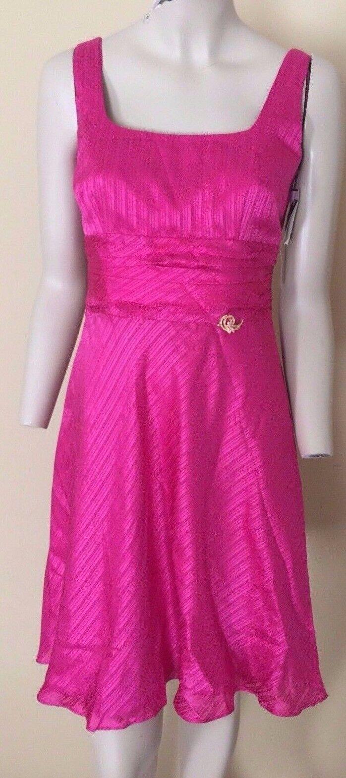damen Morgan Watermelon Brooch Silk Dress Petite 6P