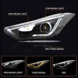 Projector-LED-Headlights-w-DRL-Dual-Beam-for-Hyundai-Elantra-2011-2016-Sedan