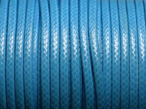 3 mètres 4558550004819 Cordon Coton Ciré 3mm Bleu Azur