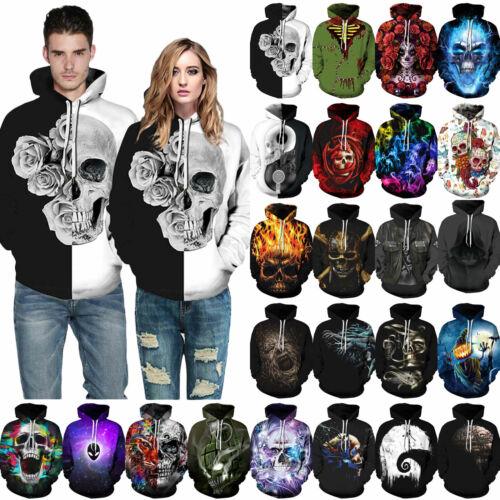 Men Women Halloween Skull Sweatshirt Sweater Festival Hooded Top Outwear Hoodies