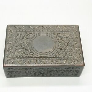 ANTIQUE CARVED INDIAN VICTORIAN ANGLO HAND WORK WOOD BOX JEWELLERY DOCUMENT