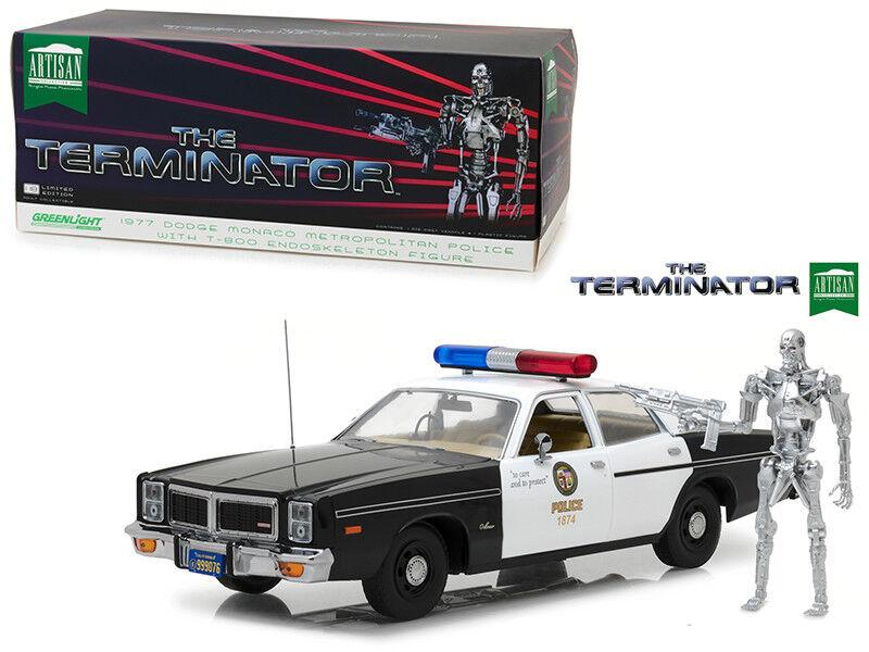1977 dodge monaco   t-800 figur aus den terminator - 1,18 ein diecast modell - 19042