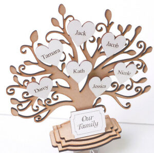 Personalised-Wooden-Family-Tree-Freestanding-Gift-Decoration-3DTree-amp-Hearts