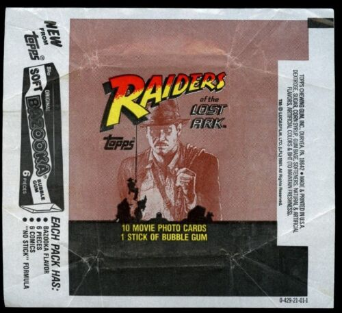 Indiana Jones Raiders Of The Lost Ark Advert 2 Trading Cards Wrapper #W20
