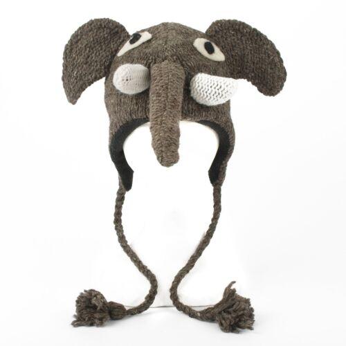Handmade Knit 100/% Wool Unisex Animal Winter Nepal Hat Elephant