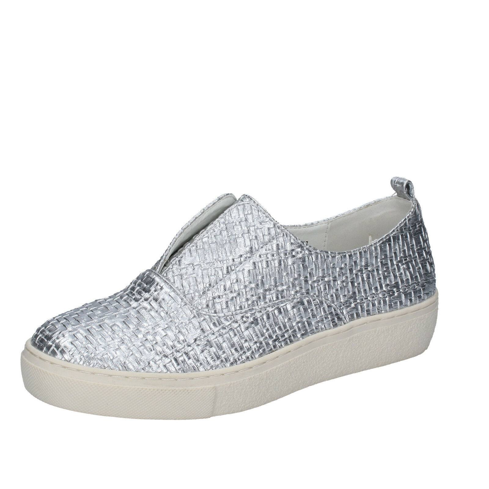 Scarpe donna FRANCESCO MILANO 36 UE SLIP ON PELLE argentooO bs79-36