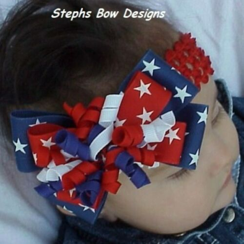 Red White Blue Star July 4th Layered Korker Hair Bow Soft Headband Preemie Adult
