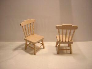 1/12th Dollshouse Miniature Barewood Chaises X 2-afficher Le Titre D'origine
