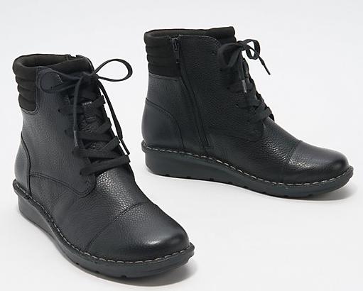 Ladies Clarks Black Leather Money