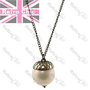 Quirky acorn pendant big 22mm pearl 33long necklace vintage brass image is loading quirky acorn pendant big 22mm pearl 33 034 mozeypictures Image collections