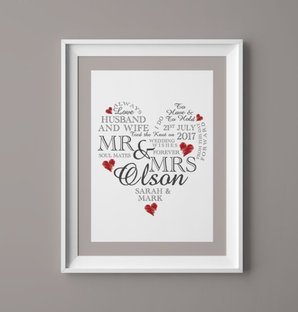 Wedding Day Print Personalised Word Art Gift Marriage Present Heart ...