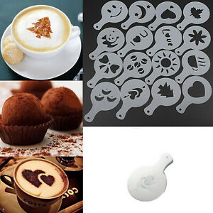 Set of 16 Barista Cappuccino Chocolate Stencil Templates for Coffee Latte Duster