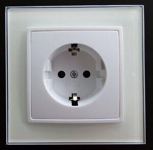 Steckdose Mit Glas Rahmen Abelka Nuovo Weiss 16 Ampere Elektro