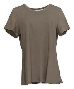 Isaac Mizrahi Live! Women's Top Sz M Pima Cotton V-Neck T-Shirt Brown A380859