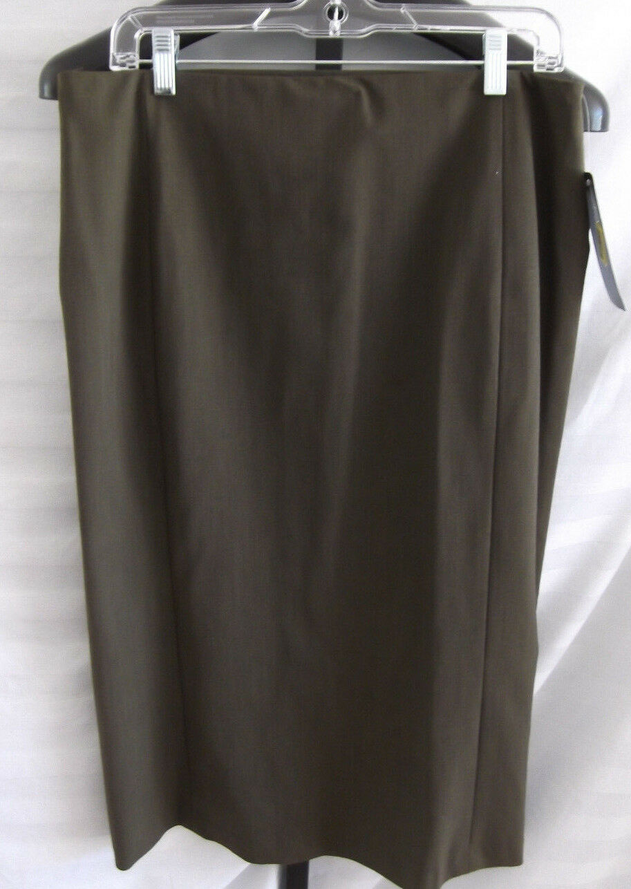 NWT Lauren Ralph Lauren Acres Green Heather Wool Skirt Misses Size 12 Mid Calf