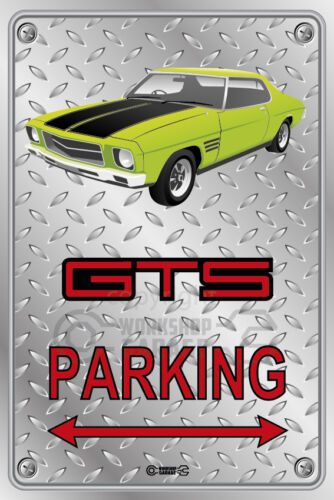 HOLDEN HQ Checkplate look GTS LIME GREEN 2  DOOR Parking Sign Metal