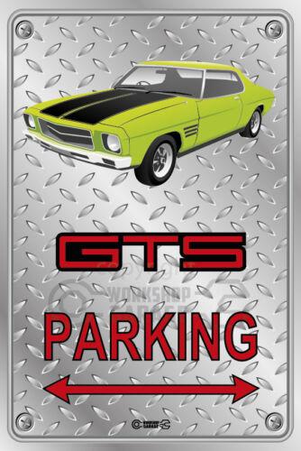 HOLDEN HQ Checkplate look GTS LIME GREEN 2  DOOR Parking Sign Metal