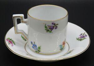 Vintage W. Wolf Kunsthandwerk Germany Porcelain Demitasse Cup & Saucer * Floral