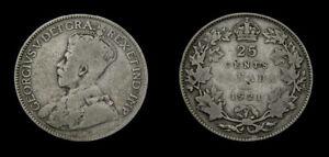 1921-Canada-25-Twenty-Five-Cent-Piece-King-George-V-VG-8