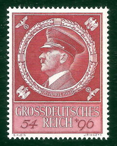 DR-Nazi-3rd-Reich-Rare-WW2-WWII-Stamp-Hitler-Head-Fuhrer-BirthDay-Swastika-Eagle