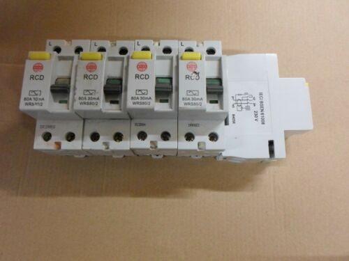 JOB LOT OF 5 X WYLEX WRS80//2 80 AMP 30mA RCD CIRCUIT BREAKERS