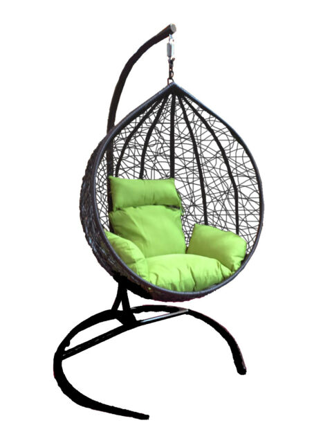 Outdoor Wicker Swinging Chair Hanging Hammock Chair W Stand Patio