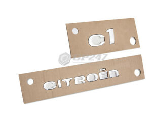 Citroen-and-C1-Rear-Tailgate-Badge-Letters-Typing-Emblem-Chrome-Self-Adhesive