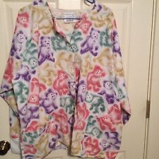 Fundamentals By White Swan Plus Size Xl Snap Front Multicolored Bears Scrub Top