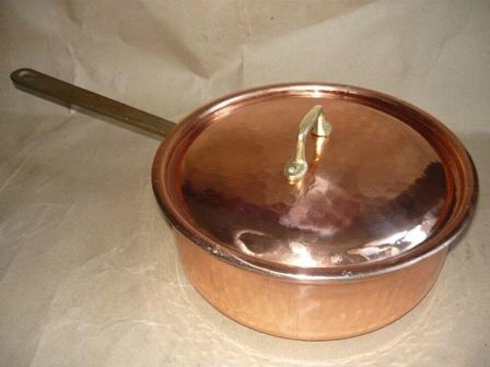 Pentola in Rame stagnato da cucina manico ottone 26 cm per cucine professionali