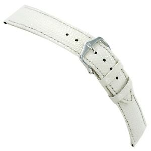 20mm-Hirsch-Rainbow-White-Lizard-Grain-Genuine-Leather-Stitched-Mens-Watch-Band