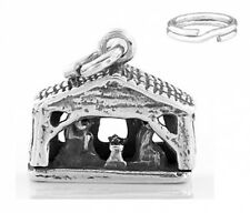 STERLING SILVER NATIVITY SCENE CHARM WITH SPLIT RING