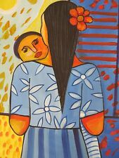 Original Caribbean Art/ Dominican painting/ Woman with a baby/mujer/canvas/bebe