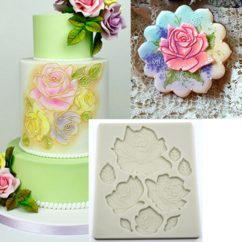 Flowers Rose Leaves Cake Mold Silicone Fondant Plant Leaf Chocolate Baking Mould