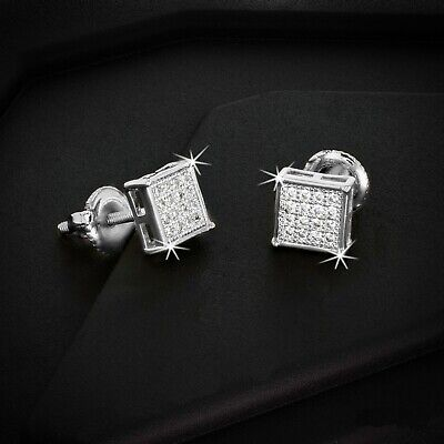 MEN/'S 0.9CT AAA LAB DIAMOND ICED OUT SQUARE SCREW BACK STUD EARRING 5MM