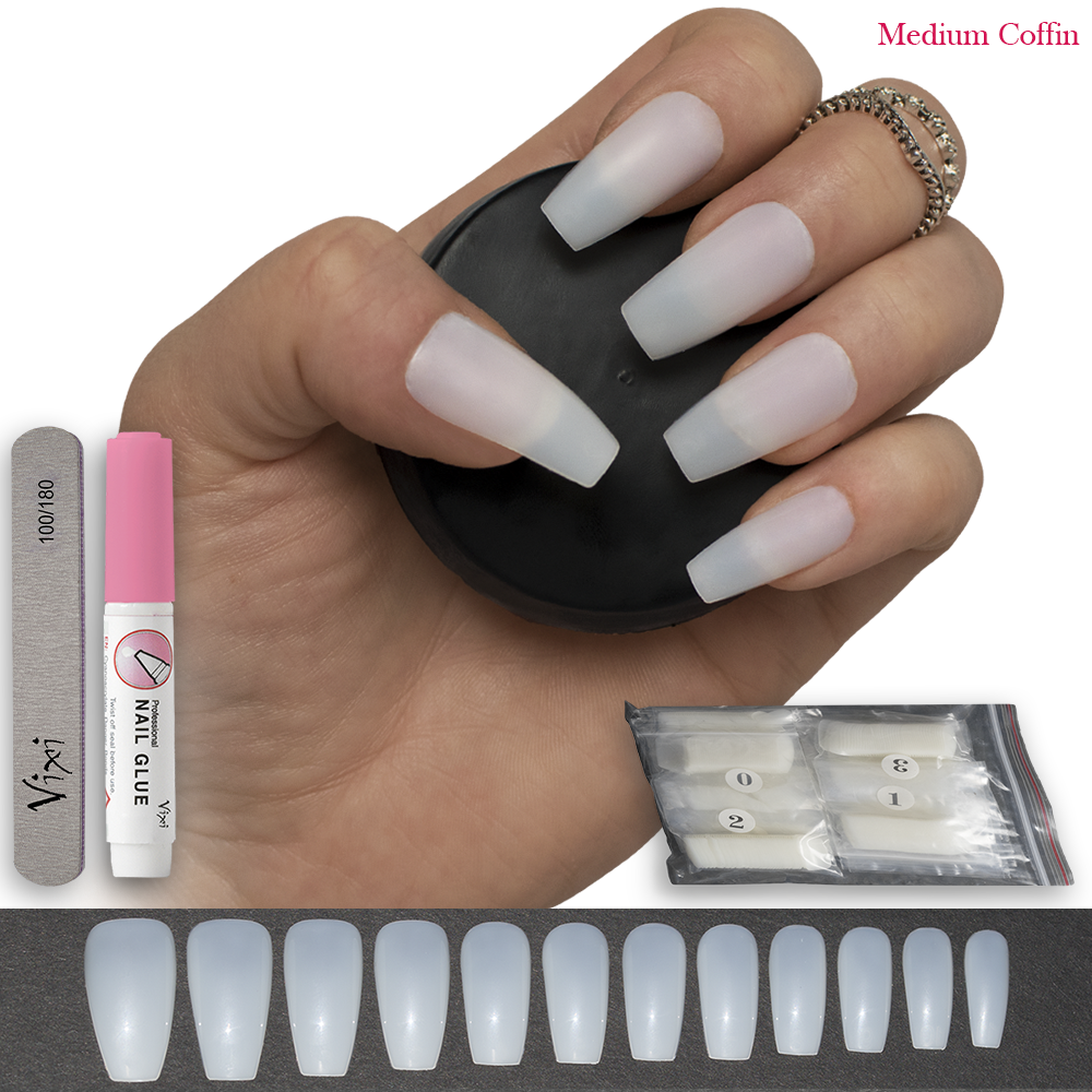 120x COFFIN False NAILS medium fake FULL COVER NATURAL Opaque ...