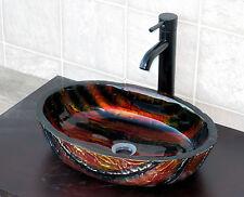 Bathroom Artistic Glass Vessel Vanity Sink Oil Rubbed Bronze Faucet 9001E3