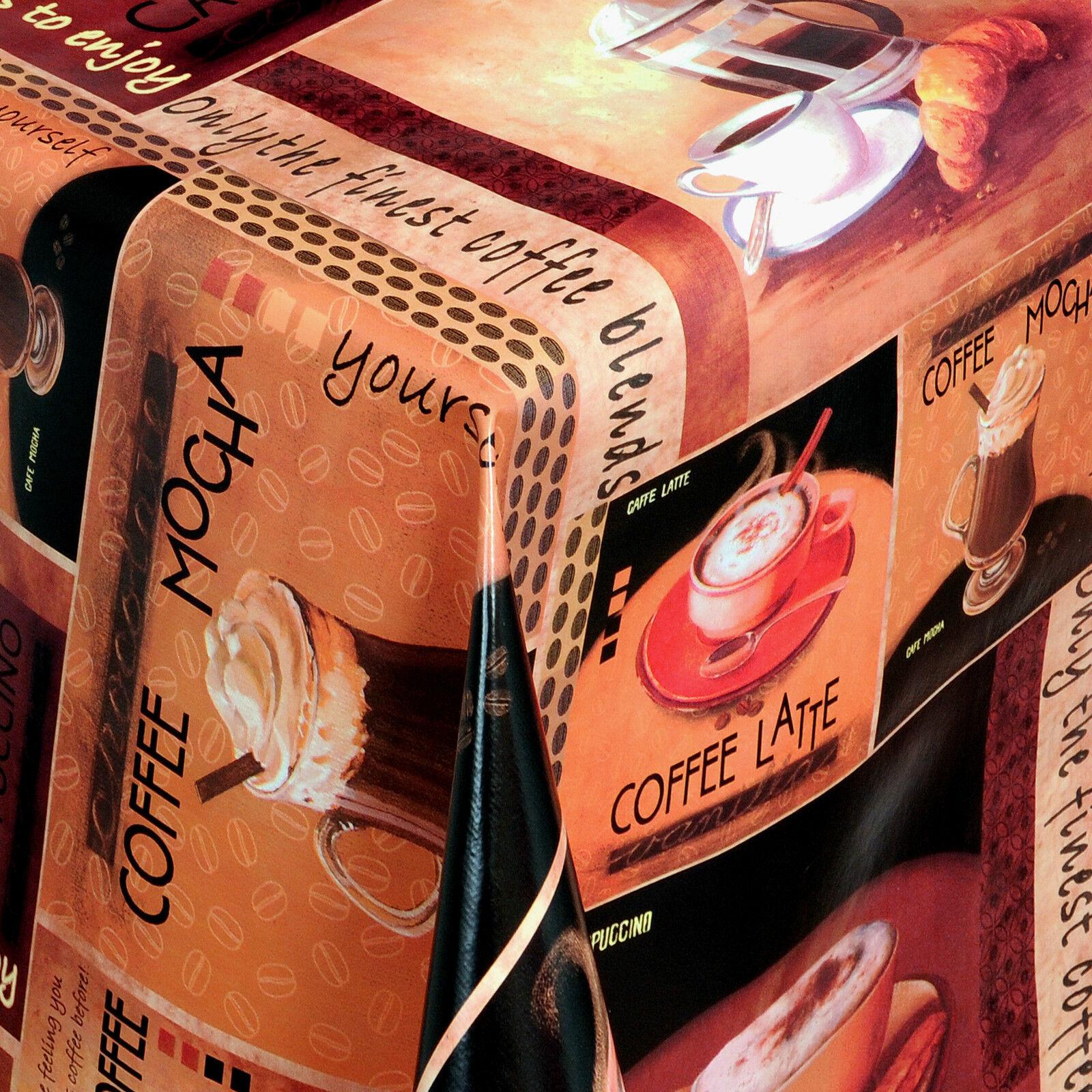 Tischdecke  COFFEE 135 x 180 cm Rechteckig Braun Creme Kaffee Latte Expresso NEU