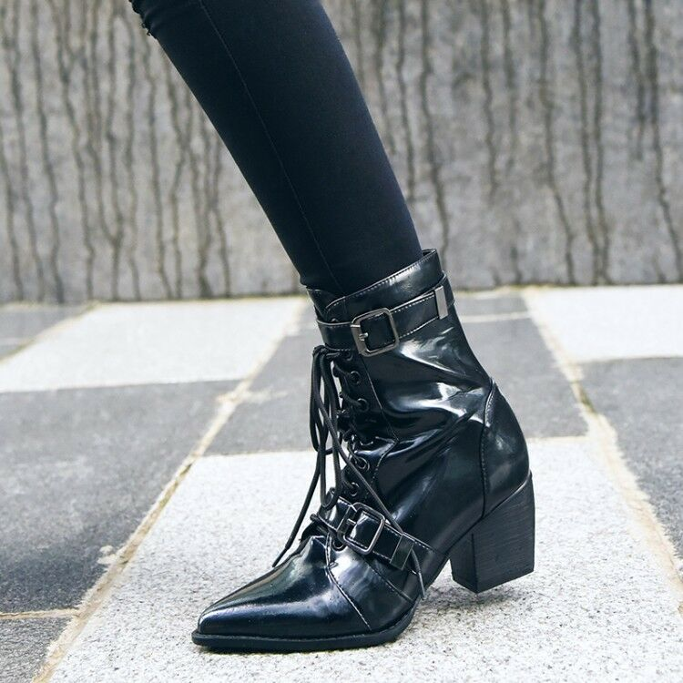 Women Pointy Toe Lace up Buckle Strap Ankle Boots Punk Gothic Leather shoes