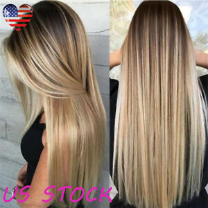 24 Ombre Blonde Brown Black Style Straight Synthetic Natural Wig