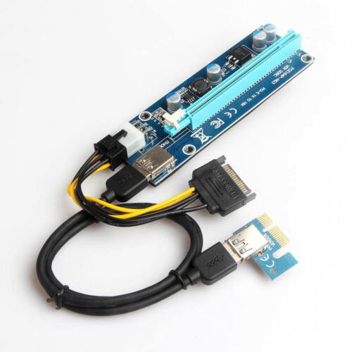 USB 3.0 PCI-E Express 1x To 16x GPU Extender Riser Card Adapter Power Cable nic