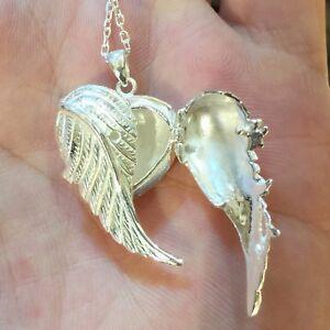 Plata-esterlina-925-Corazon-Medallon-apertura-Alas-de-angel-Colgante-y-cadena-de-18-034-pulgadas