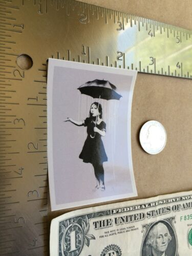 BANKSY NOLA Girl with Raining Umbrella Sticker Street Art Free Shipping