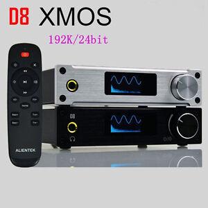 ALIENTEK D8 Hifi Audio Headphone Amplifier Coaxial Optical w/ Adapter XMOS Black