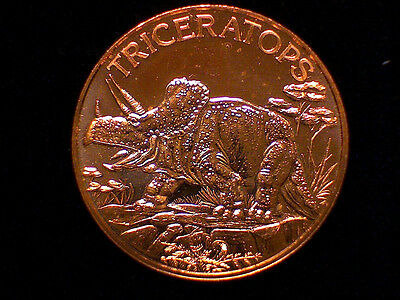 "20 /""Triceratops/"" Dinosaur Rounds 1 oz .999 Copper part of Dinosaur series"
