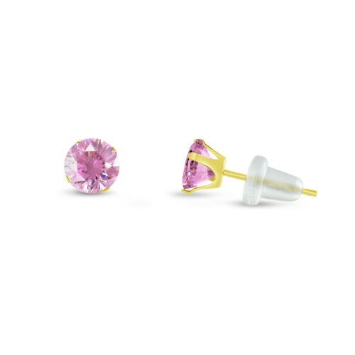 Choose Your Size 2mm 10mm Solid 10K Yellow Gold Round Pink CZ Stud Earrings