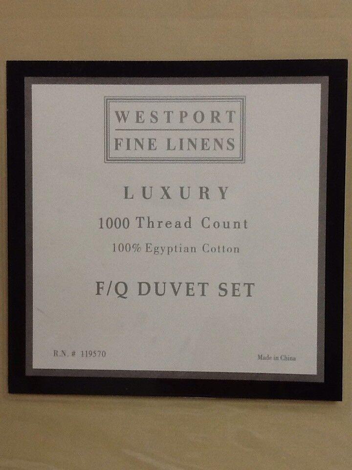 Westport Home Luxury 1000TC Egyptian Cotton Sateen FUll Queen Duvet Set NIP